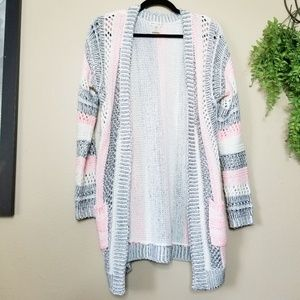 Love On A Hanger Pink & Gray Knit Open Cardigan